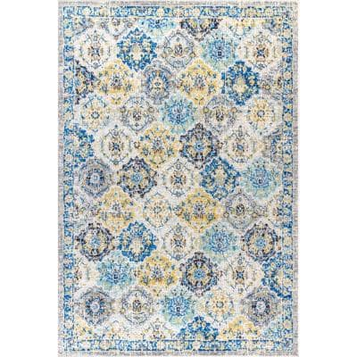 Modern Persian Boho Vintage Trellis Blue/Multi 8 ft. x 10 ft. Area Rug