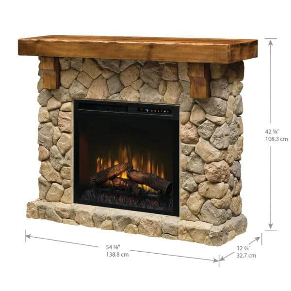 Dimplex Fieldstone 55 In Freestanding Mantel With 28 In Electric Fireplace With Logs In Natural Gds28l8 904st The Home Depot