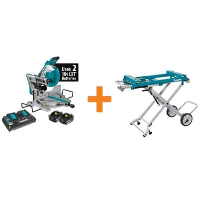 18-Volt X2 LXT(36V) Brushless 10 in. Dual-Bevel Sliding Compound Miter Saw Kit (5.0Ah) and Portable Rise Miter Saw Stand