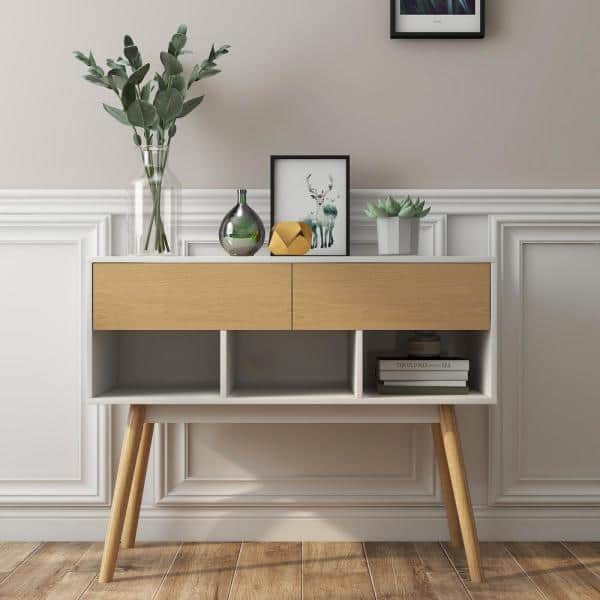 Pexfix Modern 39 37 In L X 31 1 H White Rectangle Solid Rubber Wood Console Table With Original Drawer Us Cst 11040 Wh Dj The Home Depot - Modern White Console Table With Storage