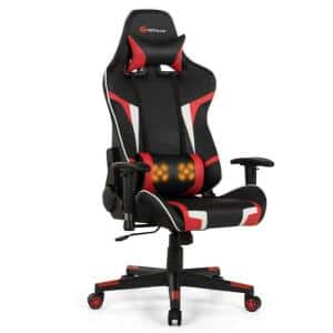 Red Ergonomic Reclining Swivel Massage Gaming Computer Chair with Lumbar Support