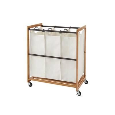 EcoStorage Wheeled 3-Bag Bamboo Laundry Cart with Bronze Poles