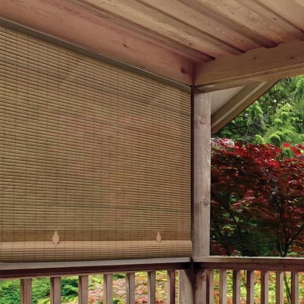 Radiance Tan Woodgrain Cordless Light, Roll Up Outdoor Shades