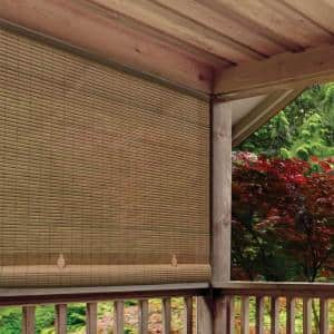 Tan Woodgrain Cordless Light Filtering UV Protection Manual Roll-Up Sun Shade 48 in. W x 72 in. L