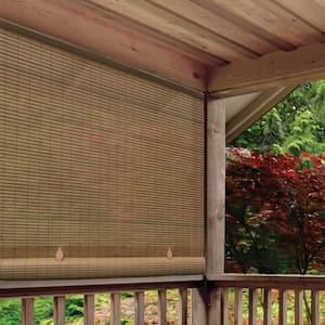 Tan Woodgrain Cordless Light Filtering UV Protection PVC Manual Roll-Up Sun Shade 96 in. W x 72 in. L