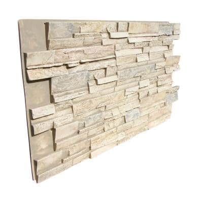 Stack Stone 48 in. x 24.25 in. Polyurethane Interlocking Siding Panel Finished in Frosted Blush