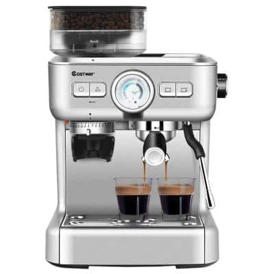 2-Cup Stainless Steel Powerful Pressure Pump Espresso Machine with Grinder & Steam Wand