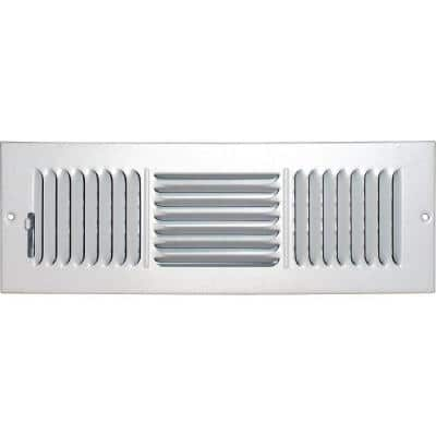 14 in. x 4 in. Ceiling/Sidewall Vent Register, White with 3-Way Deflection