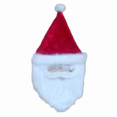 26 in. Plush Holiday Red Santa Hat with Faux Mustache and Beard