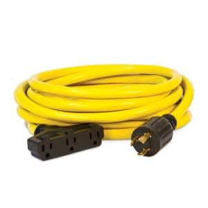 25-Foot 30-Amp 125-Volt Fan-Style Generator Extension Cord (L5-30P to three 5-15R)