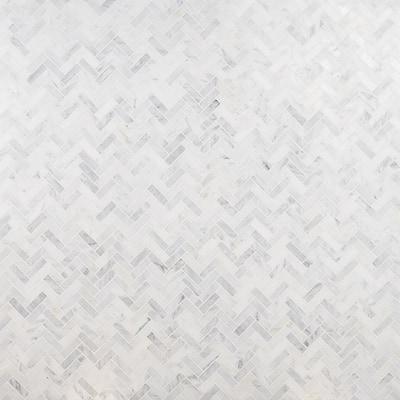 Oriental Sculpture Herringbone 12 in. x 12 in. x 8 mm Marble Mosaic Floor and Wall Tile