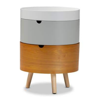 Elison White and Gray and Natural Nightstand