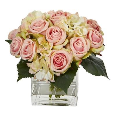 Indoor Rose and Hydrangea Bouquet Artificial Arrangement in Vase