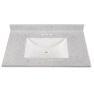 37 in. Solid Surface Vanity Top in Silver Ash with White Sink