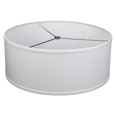 18 in. Top Diameter x 18 in. Bottom Diameter x 7 in. H Linen White Drum Lamp Shade