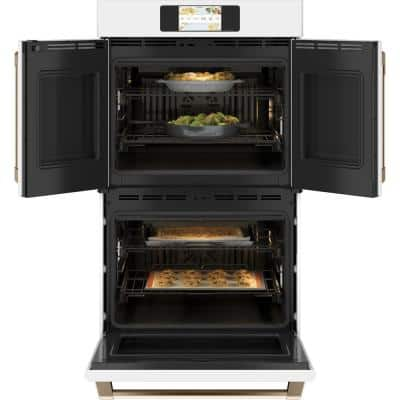 30 in. Smart Double Electric French-Door Wall Oven with Convection Self Cleaning in Matte White, Fingerprint Resistant