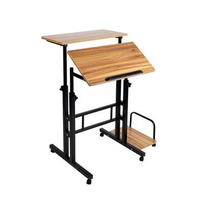 28 in. Rectangular Oak Standing Desk with Adjustable Height Feature
