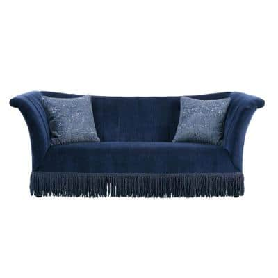 Kaffir 91 in. Dark Blue Polyester 3-Seater Bridgewater Sofa with Flared Arms