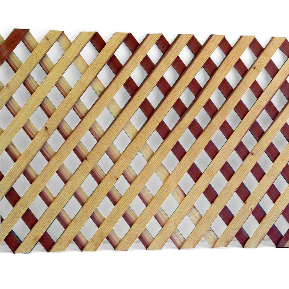 1 4 In X 2 Ft X 8 Ft Redwood Privacy Diamond Lattice 01141 The Home Depot
