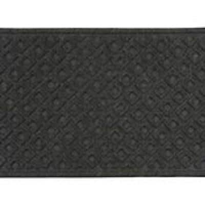 Double Square Graphite 2 ft x 3 ft synthetic fiber Door Mat area rug