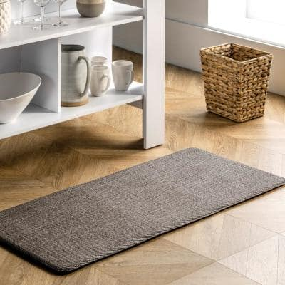 Casual Braided Anti Fatigue Kitchen or Laundry Room Dark Grey 20 in. x 42 in. Indoor Comfort Mat
