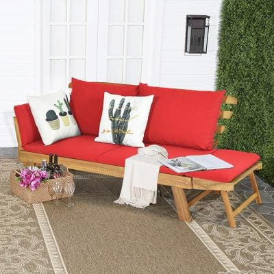 1-Piece Wood Outdoor Recliner Sofa with Red Cushions