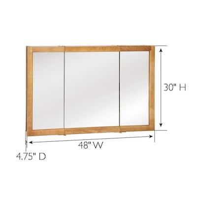 Richland 48 in. x 30 in. 4-4/5 in. Surface-Mount Tri-View Bathroom Medicine Cabinet in Nutmeg Oak