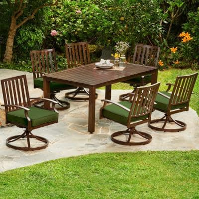Bridgeport 7-Piece Aluminum Motion Outdoor Dining Set with Green Cushions