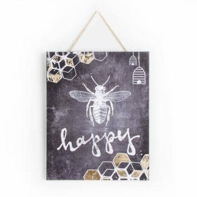 "16 in. x 20 in. ""Bee Happy"" by Graham and Brown Printed Canvas Wall Art"