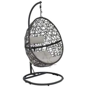 Caroline Resin Wicker Outdoor Hanging Egg Patio Lounge Chair with Stand and Gray Cushions