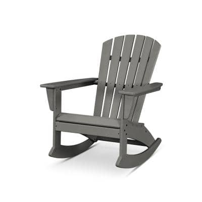 Grant Park Plastic Patio Outdoor Rocking Slate Grey Adirondack Chair