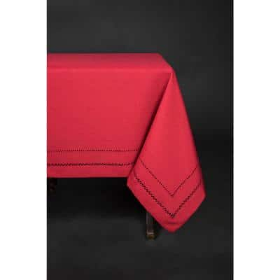 65 in. x 108 in. Handmade Double Hemstitch Easy Care Round Tablecloth in Red