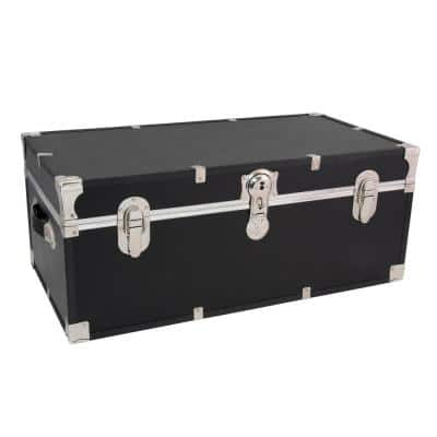 Seward Essential 30 in. Black Trunk with Lock, 12.25 in. H x 15.75 in. D, Engineered Wood