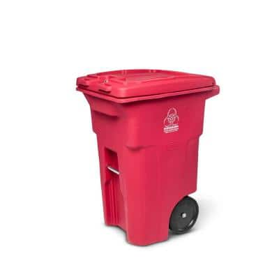 64 Gal. Red Hazardous Waste Trash Can with Wheels and Lid Lock