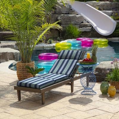 22 in. x 25 in. Outdoor Chaise Lounge Cushion in Sapphire Aurora Stripe