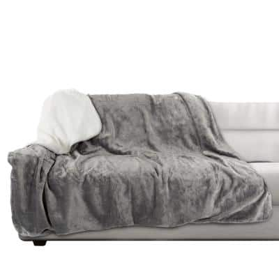 60 in. x 70 in. Gray Machine Washable Waterproof Pet Blanket