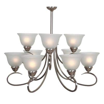 9-Light Satin Nickel Chandelier with White Glass Shade