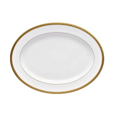 Charlotta Gold/White Porcelain Oval Platter 16 in.
