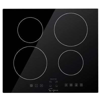 24 in. Electric Stove Induction Cooktop Smooth Surface Vitro Ceramic Glass with 4 -Elements Booster Burner in Black