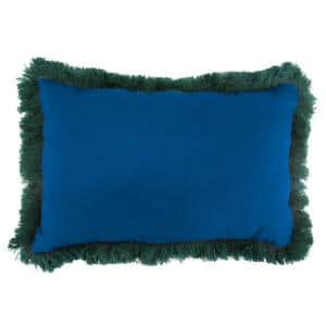 Sunbrella 9 in. x 22 in. Canvas Navy Lumbar Outdoor Pillow with Forest Green Fringe