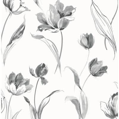 Tulip Toss Floral Vinyl Peel & Stick Wallpaper Roll (Covers 30.75 Sq. Ft.)