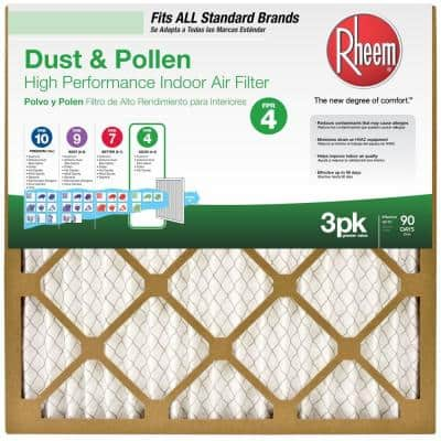 16  x 20  x 1  Basic Household Pleated FPR 4 Air Filter (3-Pack)