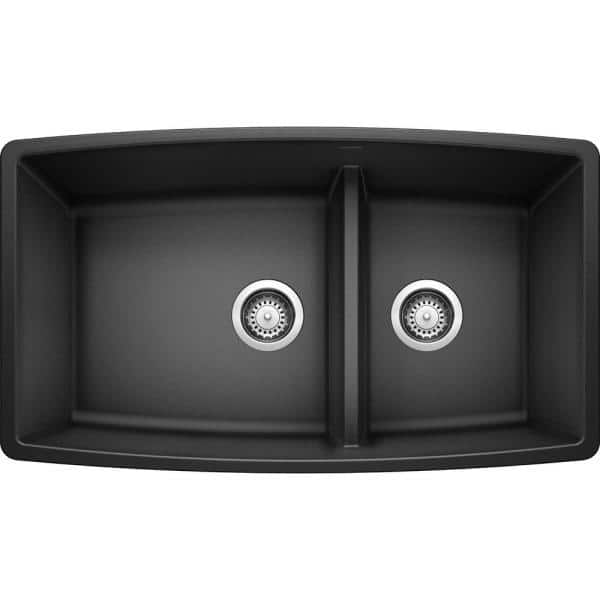 Blanco Performa Undermount Granite Composite 33 In 60 40 Double Bowl Kitchen Sink With Low Divide Anthracite 441312 The Home Depot
