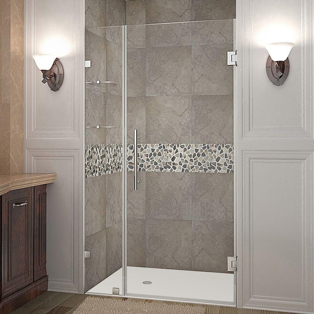 Aston Nautis Gs 40 In X 72 In Frameless Hinged Shower Door In Stainless Steel With Glass Shelves Sdr990 Ss 40 10 The Home Depot