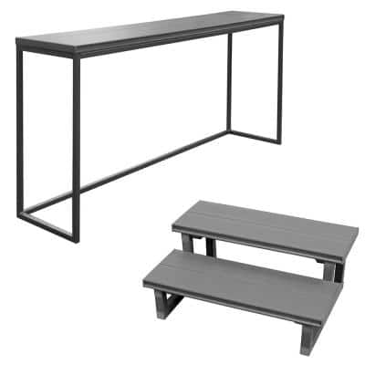 16.5 in. x 77 in. x 35.5 in. Spa Bar and 2 Tier Spa Steps in Mist