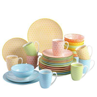 Natsuki 32-Pieces Japanese Style Porcelain Multi-Colour Dinnerware Set (Service for 8)