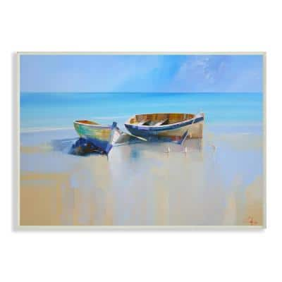 """10 in. x 15 in. """"Two Row Boats at the Shining Shore Painting """" by Craig Trewin Penny Wood Wall Art"""