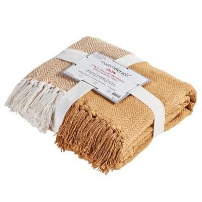 2-Pack Dion Cinnamon 100% Cotton 50 in. x 60 in. Throw Blanket