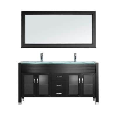 Ava 63 in. W Bath Vanity in Espresso with Glass Vanity Top in Aqua Tempered Glass with Round Basin and Mirror and Faucet