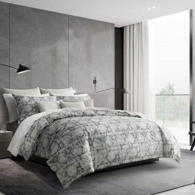 Layered Geometric 1-Piece Gray Cotton Queen Duvet Cover